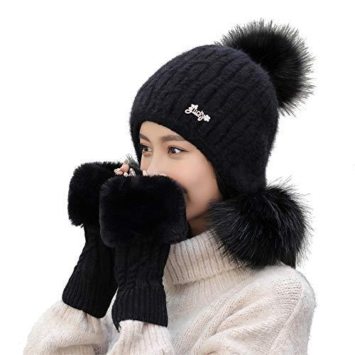 Damen Warme Winter Plüsch Zwei Bommel Mütze Handschuh Set Wintermütze Gestrickt Beanie Mütze Strickm Stillshine (Schwarz) - Carhartt Handschuh Schwarz