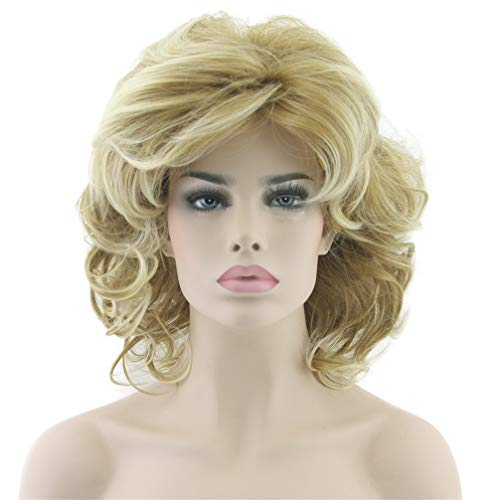 ARYON Blonde Wellenförmige Kurze Perücken Cosplay Perücke Synthetische Hitzebeständigkeit Haar Perücken für Frauen