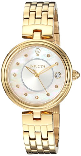 Invicta Women's Gabrielle Union Gold-Tone Steel Bracelet & Case Quartz White Dial Analog Watch 22962