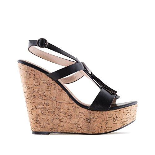 Andres Machado AM5070.Chaussures Compensées en Soft avec Franges.Pour Femmes.Petites et Grandes Pointures 32/35 et 42/45 Noir