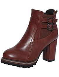 XINANTIME - Bota Mujer Tacones altos Botines Zapatos de plataforma Zapatos Mujer Otoño y Invierno (EU:38, Marrón)