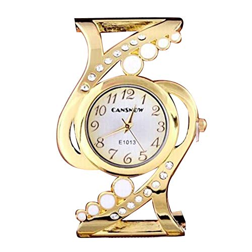 Homeofying Mode Strass Eingelegten Runden Zifferblatt Legierung Offenen Ende Strap Armreif Armbanduhr Frauen Quarz Armbanduhr Golden