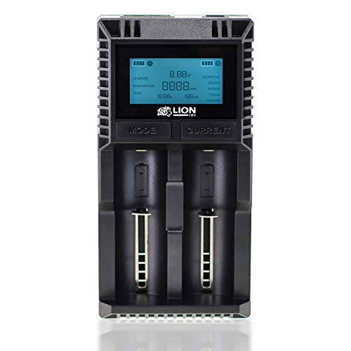 LIONcell LC2000D 18650 Ladegerät Schnellladegerät Ladestation mit 2 Slots + LCD Display + Verpolungsschutz für Li-Ion Akkus (18650, 26650, etc.), 1,2V Ni-Mh, Akkus AA AAA etc. von Weiss - More Power + -