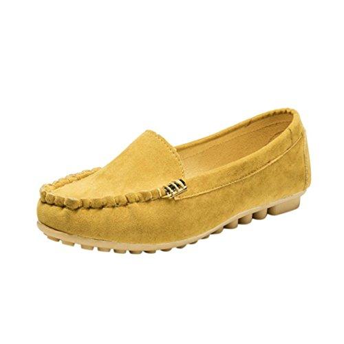 FNKDOR Damen Mokassin Slipper Halbschuhe Espadrilles Flach Schuhe (37, Gelb)