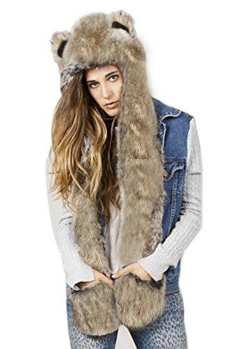 Unisex gorro de 3en 1Full sudadera con capucha invierno caliente suave Fluffy Cute Animal Tema gorro con manoplas guantes de bolsillo largo bufanda para hombres mujeres niñas, gran Navidad regalo de cumpleaños, mujer, marrón