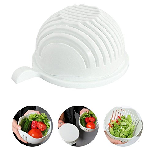 Quici Salade Cutter Bol 60 secondes à salade Maker Fruits Légumes Bol Cutter-fast Fresh à salade trancheuse à salade Chopper- Extra Big Bowl Super pour le lavage contenant