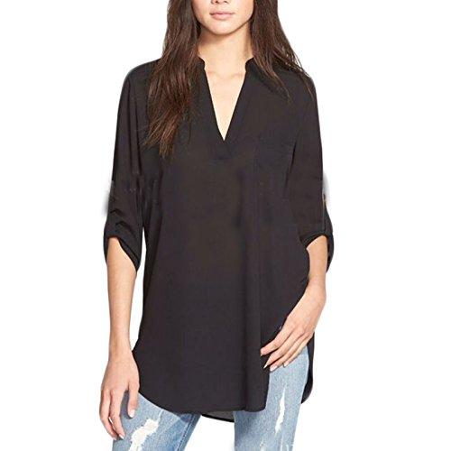 LQKA-EU Donne Manica a 3/4 V-Neck Colore solido Irregolare Asimmetrico Moda Sciolto Cime Camicia Camicetta T-shirt Maglietta Blusa Tops Nero
