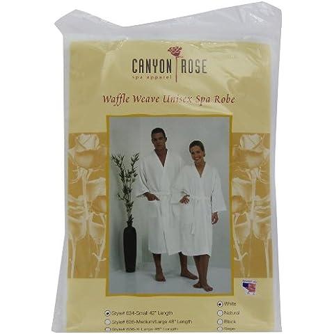 Canyon Rose Waffle Weave Unisex Spa Robe, Short, White by