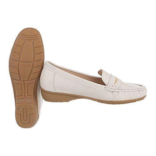 Ital-design Mocassini Scarpe Da Donna Mocassini Moderni Scarpe Col Tacco Basso Crema D1516-5