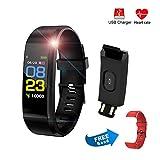 Fiotasy IP67 Smart Watch Fitness Activity Trackers HR Slim con Cinturino Extra, Braccialetto Fitness con cardiofrequenzimetro, Ricarica USB, pedometro, Distanza, Regalo per Bambini, Uomini e Donne