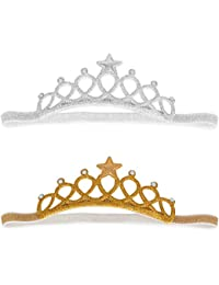 Bembika Baby Girl Rhinestone Tiara Crown Princess Headband Hair Accessories Birthday Photography Photoshoot Prop (Silver Golden)(Set of 2)