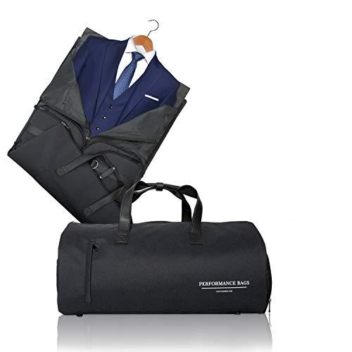 Perfomance Bags XL Größ Anzugtasche 2 in 1 Kleidersack und Reisetasche | Kleidertasche und Handgepäck für Männer und Frauen auf Geschäftsreise, Reisen | Anzugsack | Sporttasche, Gym Bag 60L-Schwarz I