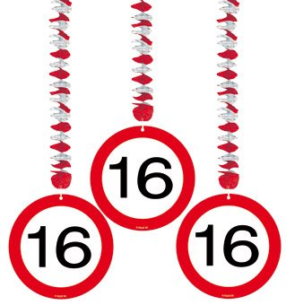 Folat 3 Rotor-Spiralen Zahl 16 Geburtstag Verkehrsschild