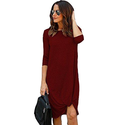 Melansay Femmes 3/4 à Manches Longues Irrégulière Twist Fold Swing Lâche Plaine Midi Dress Casual Loose Genou Longueur Chemise Robe Vin Rouge