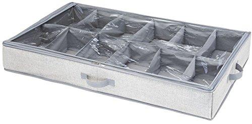 Interdesign aldo under bed scatola organizzatore scarpe per camera da letto, tessuto, grigio, 91.4x53.3x12.7 cm