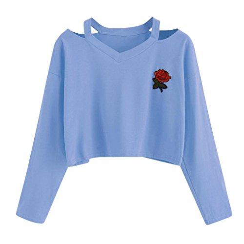 Herren-vintage-pullover Mit V-ausschnitt (Stylische Kurze Damen Pullover CLOOM Rose Stickerei Jumper Sweatshirt Vintage Tops Schicke Bluse V-Ausschnitt Baumwolle Kuschelpullover Baggy Hemd Mädchen UnregelmäßIg Schöne Pullis (XL, Blau))