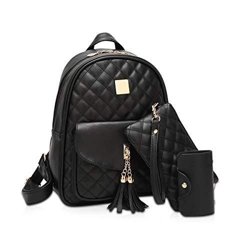 NICOLE & DORIS Leder Rucksack für Mädchen Mode 3 stücke Frauen Rucksack Leder Geldbörse mädchen Rucksack Plaid Frauen Daypack Schultaschen Balck