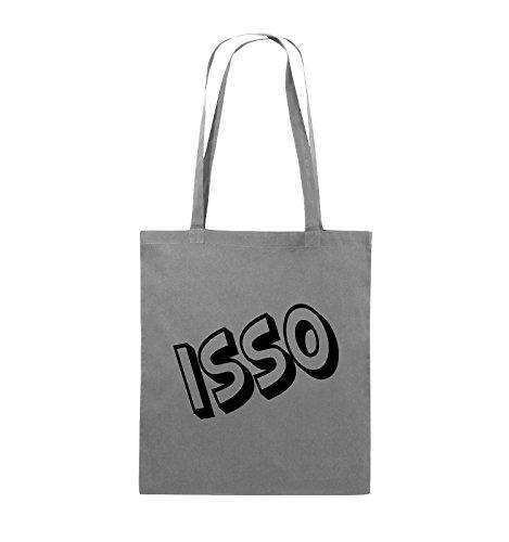 Comedy Bags - ISSO - COMIC SCHIEF - Jutebeutel - lange Henkel - 38x42cm - Farbe: Schwarz / Silber Dunkelgrau / Schwarz