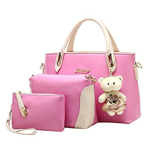 fanhappygo Fashion Freizeit Leder Damen Aktentasche Schulterbeutel Umhängetaschen Abendtaschen a set pink