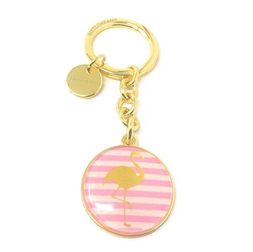(SoulSisters Living Schlüsselanhänger Flamingo pink gestreift mit süßem goldenem Anhänger 18k vergoldet)
