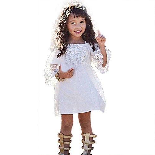 Babykleidung Honestyi Blumen Mädchen Prinzessin Dress Kids Baby Partei Hochzeits Festzug Spitze Kleidet Kleidung an (Weiß,100)