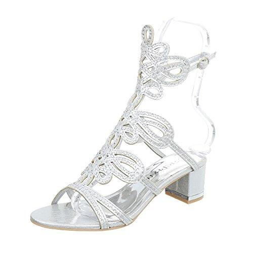 Ital-Design High Heel Sandaletten Damen-Schuhe Pump Riemchen Schnalle Sandalen Silber, Gr 38, Jc-176-