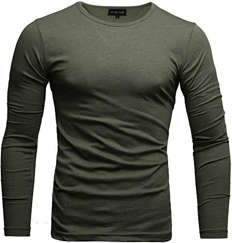 Crone Essential Basic Herren Slim Fit Langarm Rundhals Shirt Longsleeve T-Shirt Sweatshirt in vielen Farben (XL, Military Grün)