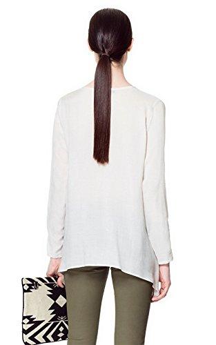 QIYUN.Z Vintage-Stil V-Ausschnitt-Taste Langarm Chiffon Casual Tops Blusen Shirt Weiße