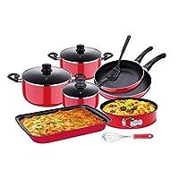 Aluminum Non Stick Cookware Set, Red, 12 Pcs - RF8429