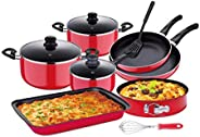Aluminum Non Stick Cookware Set, Red, 12 Pcs - RF8429