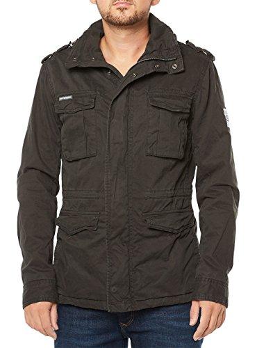 Superdry Men's Rookie Military Jacket Men's Black Jacket In Size L Black