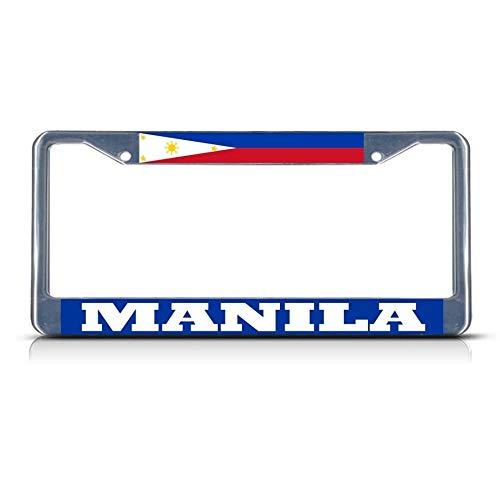 Philippines Manila Chrom-Kennzeichenrahmen, robust, Metall, ideal für Herren und Frauen, Auto-Garadge Dekor