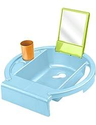 Rotho Babydesign Kiddy Wash Kinderwaschbecken / Waschtisch für Kinder ab 12 Monate mit Spiegel, Ablaufstopfen & Handtuchhalter / inkl. Zahnputzbecher / Perl Blue/Aquamarine