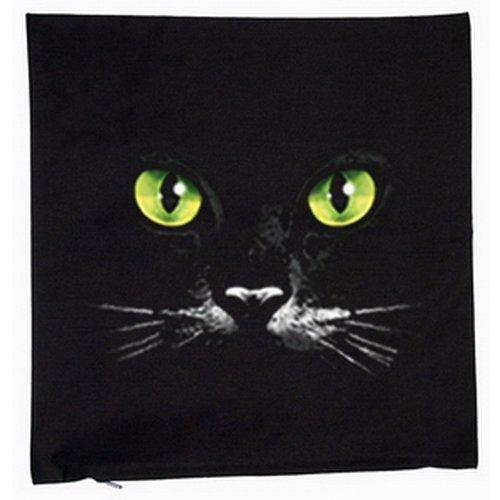 Schwarze Katze mit sexy Katzen Augen 40x40cm Kissenbezug in schwarz