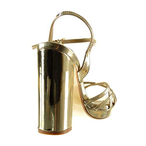 Oro Sandali Zeppe Tacco Alto Angkorly Fibbia Scarpe Moda Donna Multi Blocco Briglia cm a Tanga 12 tEEwZzF7q