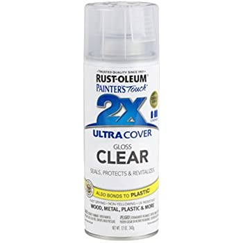 Rust-Oleum 249117 Painter's Touch Acrylic Spray Paint for Plastic, Metal, Wood (Gloss Clear - 340 Grams)