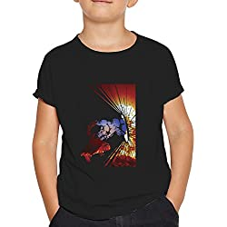 OKAPY Camiseta Capitan America. Una Camiseta de Niño con Capitan America con su Escudo. Camiseta Friki de Color Negra