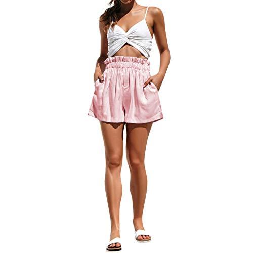 Lonshell Damen High Waist Kurze Hose für den Sommer Lose Fit Chino Shorts Bermuda Laufshorts mit Gummiband Boyfriend Sommerhose Lässige Sweatshorts (Zip Haut Top)