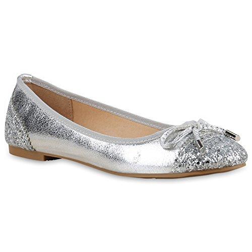 Stiefelparadies Klassische Damen Ballerinas Flats Slipper Flache Übergrößen Spitze Metallic Glitzer Schuhe 138011 Silber Glitzer 37 | Flandell® (Elegant-flache Schuhe)