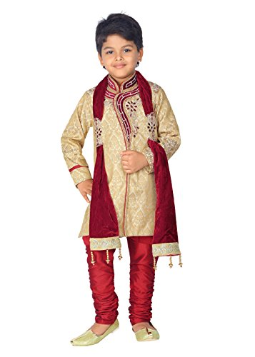 Ahhaaaa Kid's Ethnic Hand work embroidery Sherwani and Breeches Set Special Traditional...