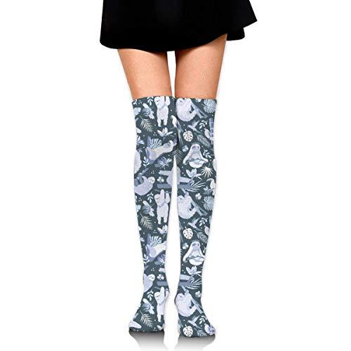 9e9661a641a2 Easy Living Jungle Sloths Women Girls Funny Knee High Socks Novelty Crew  Socks Boot Socks purple