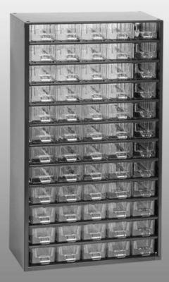 Schubladenmagazin, Schubladen glasklar – HxBxT 551 x 306 x 155 mm, Gehäuse-Traglast 60 kg, 60 Schubladen – ab 1 Stk – Klarsichtmagazin Kleinteilemagazin Lagersystem Magazin Magazinschrank Schubladenmagazin Schubladenschrank Schubladensystem
