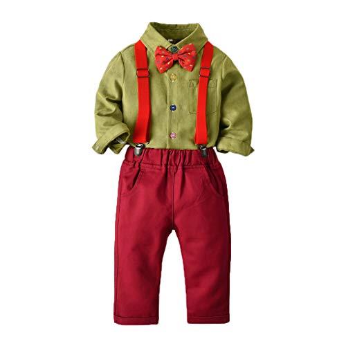 Dasongff Baby Junge Gentleman Suit Bowtie Hemd Hosen Hochzeit Anzug Tuch Sets Weihnachten Fliege Hosenträger - Einfache Anzug-hosen