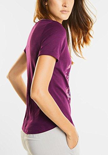 Street One Damen Federprint Shirt mit Glitzer sunny violet (lila)