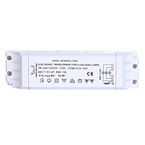 Liqoo 150W Electronic Halogen Transformer Trafo Power Supply Driver Adapter AC 12V for 12V Low Voltage Halogen Bulbs Lamp Lighting