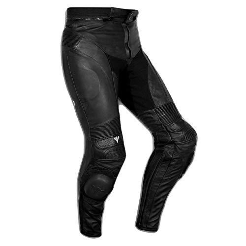 A-Pro Pantaloni Pelle Sport Moto Naked Protezioni Sliders Sportivo Tecnico Nero 32