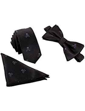 Hombre Pajarita Corbata Pañuelo de Bolsillo 3 en 1 Set - Pajarita Clásica 6*12 cm & Corbata Estrecha 6 cm & Pañuelo