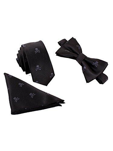 Hombre Pajarita Corbata Pañuelo de Bolsillo 3 en 1 Set - Pajarita Clásica 6*12 cm & Corbata Estrecha 6 cm & Pañuelo Print Negro Calavera