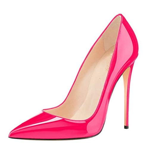 LIANGXIE Women SMART Pumps HIGH Heels Ladies Toe Stiletto Pointed SEXY PATENT Leather Banquet Women ' S Shoes Large Size Candy Colors HIGH Heels 12CM,Rose,35 Patent Dolly