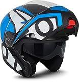 Moto Helmets F19 'Gloss Black' - Casco da moto, casco pieghevole modulare flip-up integrale, full face cruiser, certificazione ECE, visiera a sgancio rapido XS - XL (53 - 62 cm)